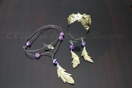 Parure foglie ottone e agata viola