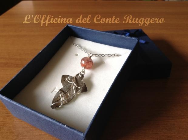 """Foglia di edera di argento 925 e quarzo rosa Ispirato alla spilla, la FOGLIA DI LORIEN, de """"Il Signore degli anelli"""""""
