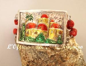 San Giovanni degli Eremiti a cesello su lastra di argento smaltato
